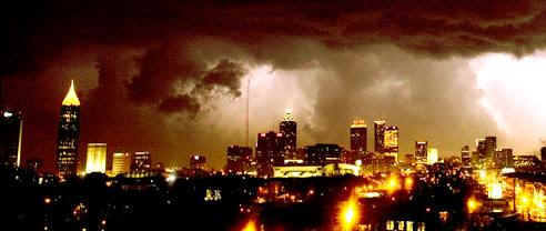 The tornado struck downtown Atlanta, Georgia, at about 9:30 pm on March 14, 2008.