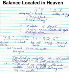 The Balance in Heaven aspect of pictographic bible code.