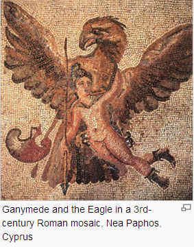 Ganymede and eagle in 3rd century mosaic.