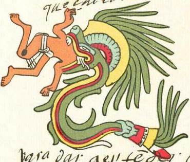 Quetzalcoatl swallowing a man.
