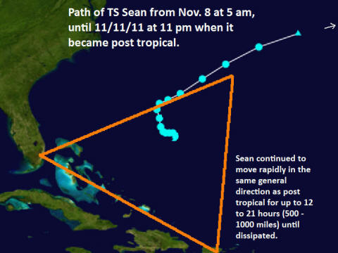 Path of TS Sean to the peak of Bermuda triangle, a type of ascension among many other things. Relates to Ezek. 9 as well.