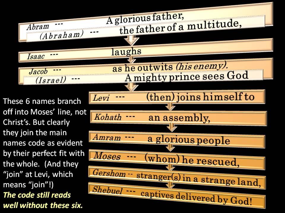 Abram (Abraham), Isaac, Jacob (Israel), Levi, Kohath,Amram,Moses,Gershom,Shebuel.