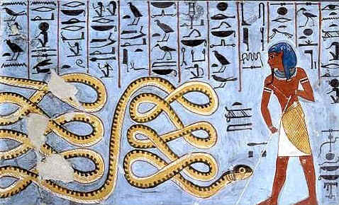 Apep (Apophis) was seen as a giant snake, crocodile, serpent, or in later years, in a few cases, as a dragon.