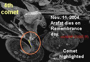 Raven pecks at comet! Arafat dies same day.