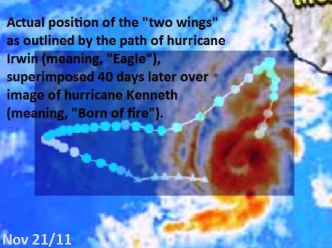 Hurricane Kenneth with path of Irwin superimposed over it. Compare to English Bible code.