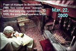 Pope in manger in Bethlehem, March 22, 2000.